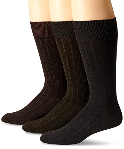 Dockers Men's 3 Pack Classics Essential Rib Crew Socks