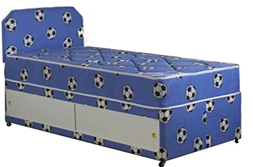 Cool Blue Small Single Shorty Football Divan Bed Set With Matching Mattress And Headboard Including Slider Storage
