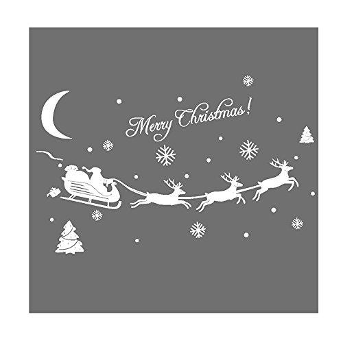 Decoración Hogar Pared Navidad Año Nuevo Pegatina Con Película Transferencia Arbol Trineo Papa Noé Color Blanco