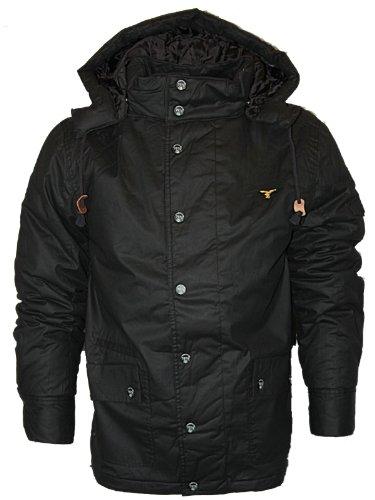 Mens Black Le Breve Jeans Terance Designer Padded Mid Length Hooded Jacket Size S