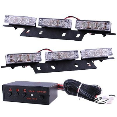 Mictuning 18 X Ultra Bright White Led Emergency Warning Use Flashing Strobe Lights Bar For Windshield Dash Grille