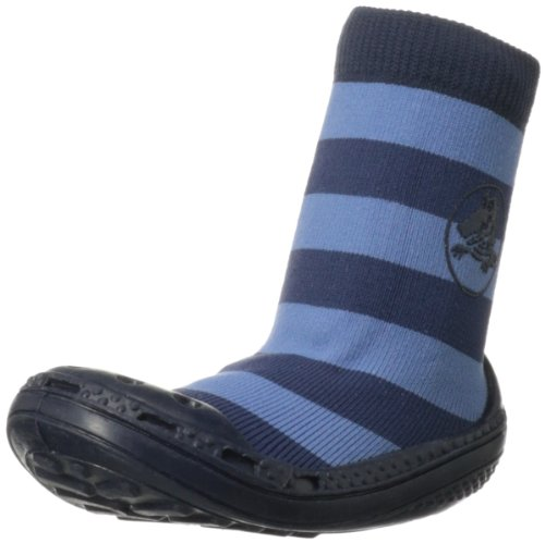 Crocs Boys Grippy Socks Shoe (Toddler),Blue Stripe,5 M Us Toddler front-307008