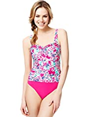 Tummy Control Ruched Meadow Print Swimsuit
