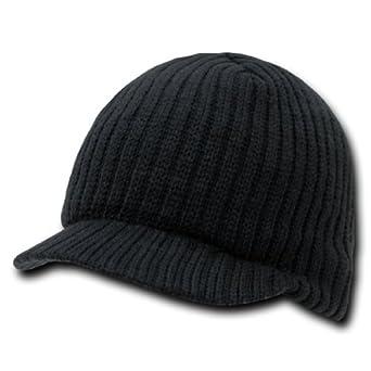 Black Solid Campus Jeep Cap Visor Beanie Ski Cap Caps Hat Hats Toque