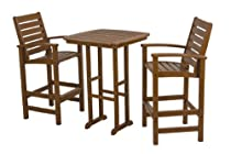 Hot Sale POLYWOOD PWS153-1-TE Signature 3-Piece Bar Set, Teak