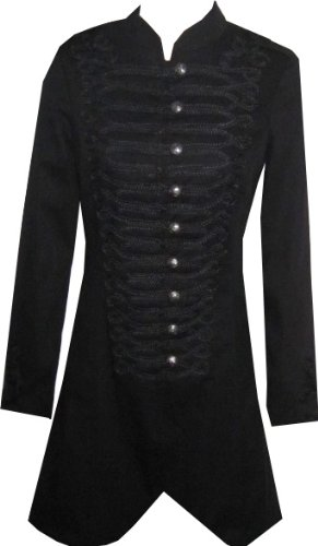 Victorian Long Black Gothic Military SteamPunk Indie Jacket Coat