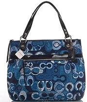 Hot Sale Coach Limited Edition Poppy Glam Shopper Bag Purse Tote 19881 Denim Blue