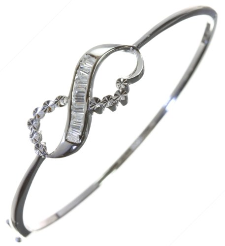 Beautiful 925 Sterling Silver Ladies Bangle with Cubic Zirconia/CZ - 6cm*2mm, 7 Grams