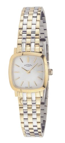 Rotary Ladies Square White Dial 2 Colour Bracelet Watch LB02401/41
