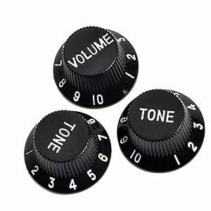 3pcs speed control knobs one volume tow tones black electric guitar parts fender. Black Bedroom Furniture Sets. Home Design Ideas