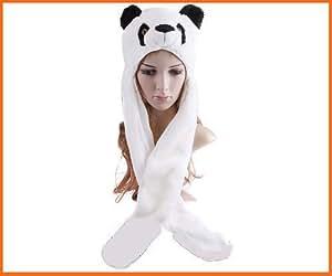 Panda Hat with Long Mittens Plushy Animal Cap