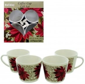 Melamine Holiday Poinsettias 4 Piece Coffee Cup Gift Set