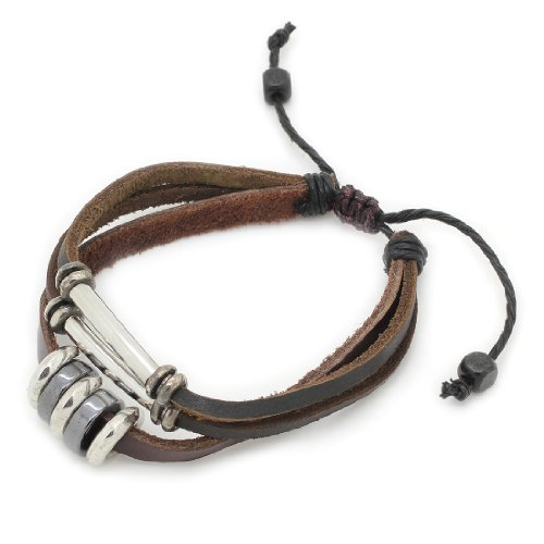 3-Strand Genuine Leather Adjustable Wristband / Bracelet with Rings & Tubes
