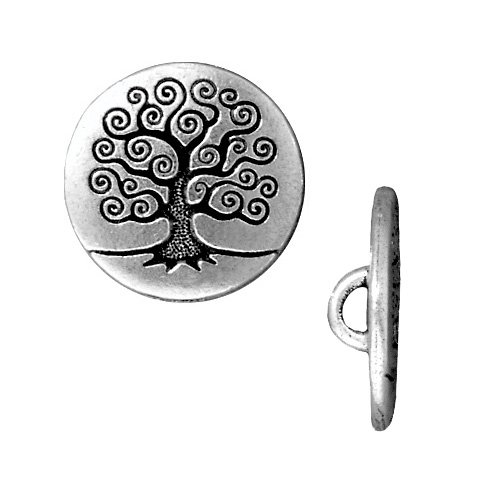 Antiqued Silver Plated Pewter Tree Of Life Button 15.5mm (2)