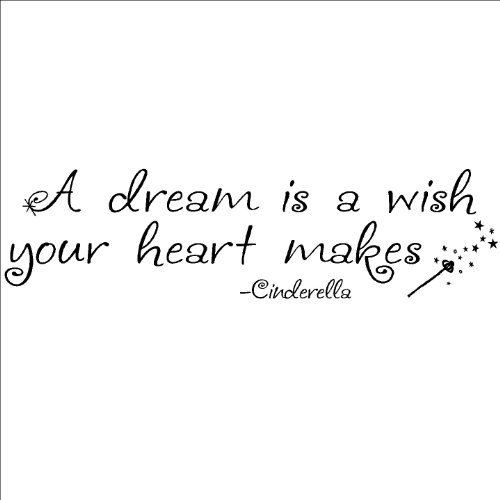 (NEW) A Dream Is A Wish Your Heart Makes wall sayings vinyl lettering art quote sticker decal