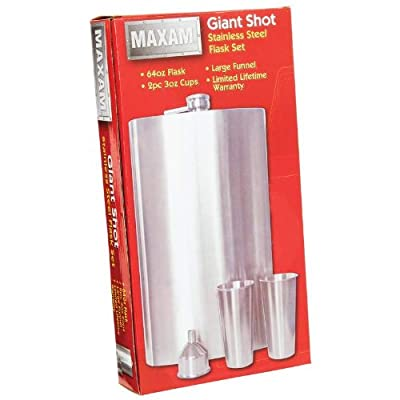 Maxam KTFLSKGS 64oz Giant Shot Stainless Steel Flask Set