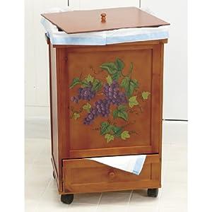 grape wododen rolling trash bin garbage can with storage kitchen waste bins. Black Bedroom Furniture Sets. Home Design Ideas