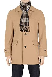 London Fog Mens Wool Blend Car Coat With Scarf Camel