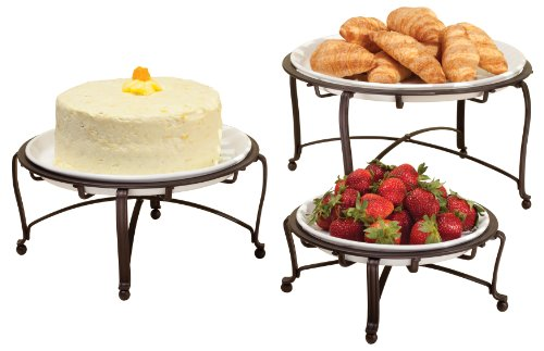 InterDesign York Round Buffet Stand, Set of 3, Bronze/White
