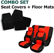 FH Group Combo Set Cloth Seat Covers w. 2 Headrests and Carpet Floor Mats Solid Bench Red & Black
