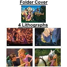 Limited Edition Tangled Featuring Rapunzel Movie Lithograph Set Including 4 Lithos & Storage Folder