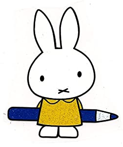 Miffy rabbit w blue pencil Heat Iron On Transfer for T-Shirt ~ white rabbit bunny