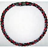 "24"" Red Black Titanium Sports Tornado Necklace w/ Case"