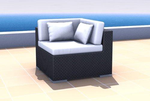 Resin Wicker Outdoor Furniture Sectional Corner Sofa ESPACE, black