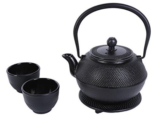 Teapot Black Cast Iron kettle Pot Tea Set With Trivet and Two Tea Cup By Juvale (40 Oz Cast Iron Tea Pot compare prices)