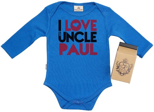 Sr - Personalised I Love Uncle Paul Baby Grow 0-6M Blue In Milk Carton front-1038218