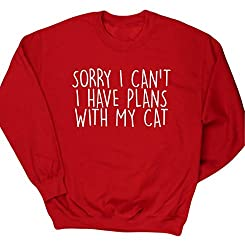 HippoWarehouse Sorry I Can't I Have Plans With My Cat kids unisex jumper sweatshirt pullover
