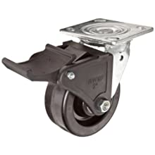 RWM Casters 46 Series Plate Caster, Swivel with Face Contact Steel Total Lock Brake & Lock, Urethane on Polypropylene Wheel
