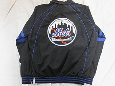 MLB New York Mets Mens Full Zip Black Embroidered Windbreaker Jacket ANYM 12 M L XL