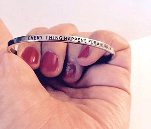 EVERYTHING HAPPENS FOR A REASON:Mantra Bracelet, Inspirational gift,100% Guaranteed,Perfect Gift.