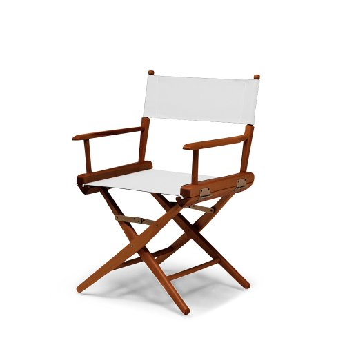 Telescope Casual World Famous Dining Height Director Chair, White With Walnut Frame