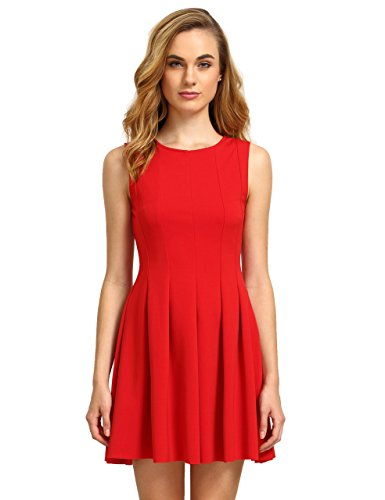 ROMWE Women's Classic Vintage Round Neck Sleeveless Pleated Flare A Line Dress Red L