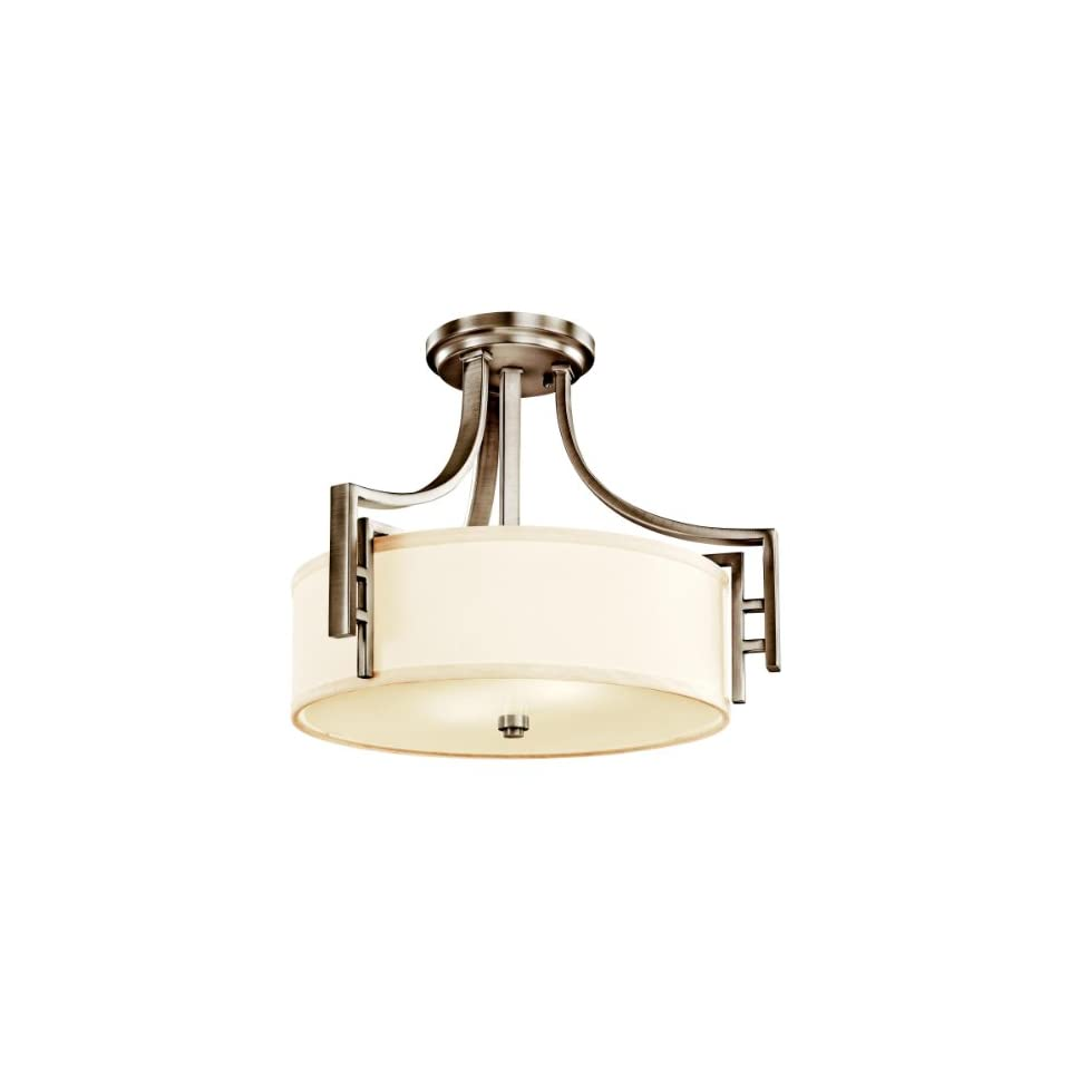 Kichler Lighting 42253AP Quinn 2 Light Semi Flush Ceiling Light, Antique Pewter with White Linen Fabric Shades