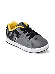 DC Court Graffik Elastic UL Shoes Skate Shoe (Toddler), Grey/Black/Yellow, 7 M US Toddler