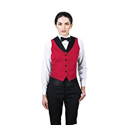 Women\'s Red Full Back Tuxedo Vest with Black Lapel Extra Small
