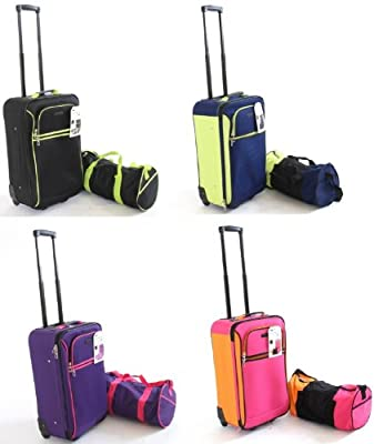 """2 Piece Luggage Set: 22.5"""" Carry on Cabin Suitcase with Wheels and 18"""" Shoulder Tote. Large Lightweight Cabin Suitcase and Carry Bag from Protocol"""
