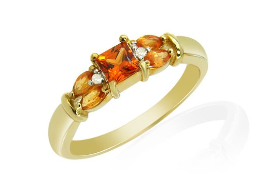 9ct Yellow Gold Orange Sapphire and 0.020ct Diamond Ring - Size M