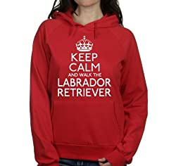 Keep calm and walk the Labrador retriever womens hooded top pet dog gift ladies Red hoodie white print