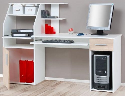 5-5-8-1506: made in BRD – schöner Bürotisch – sonoma-Eiche-weiss – Computertisch – Schreibtisch – PC-Tisch online bestellen