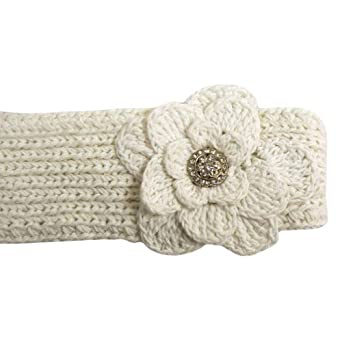 Luxury Divas White Hand Made Cotton Knit Headband W/flower & Rhinestone Button