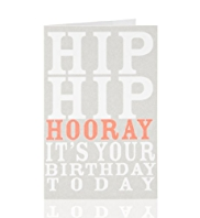 Miniature Hip Hip Hooray Text Birthday Card
