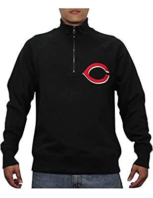 MLB CINCINNATI REDS Mens Athletic 1/4 Zip Pullover Thermal Sweatshirt