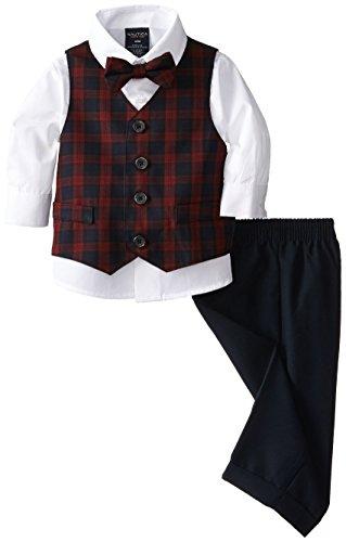 Nautica Baby Boys Mini Tartan Vest Set, Navy, 12 Months