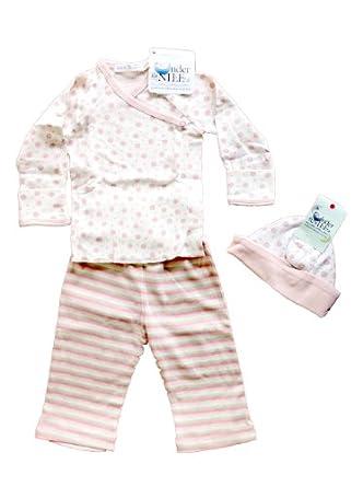Under the Nile Lycra Pants, Side Snap Shirt + Reverable Hat - Pink Newborn-3 Months