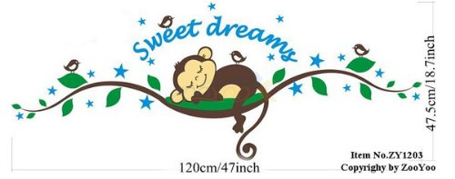 Sweet Dream Sleepy Little Monkey Rest on Tree Vine Monkey wall decal nursery wall decal