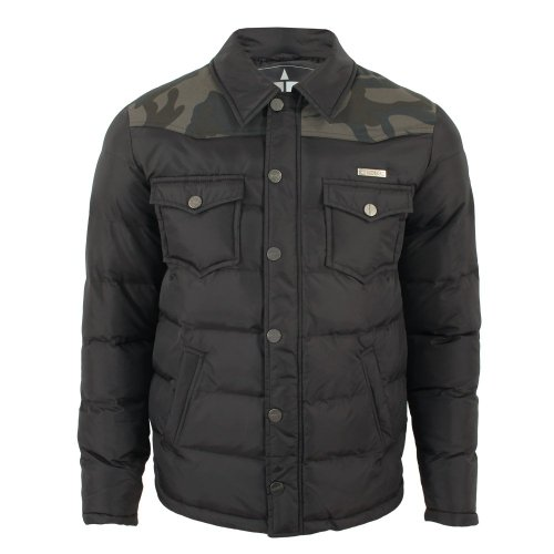 TwoAngle Mens Geopard Camo Puffa Jacket Black Medium
